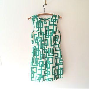 Milly Geometric Pattern Sheath Dress Green& White